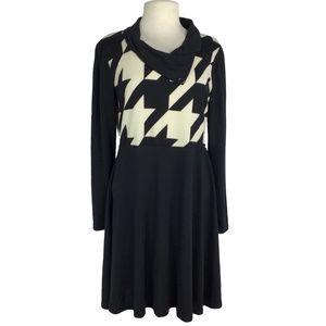 Reborn XL Houndstooth Long Sleeve Skater Dress
